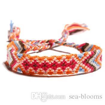 Hot Sale 6 Color Friendship Bracelets for Men Women Jewelry Handmade National Wind Bracelet Boho Woven Strand Thread for Hair Ponytail H683F