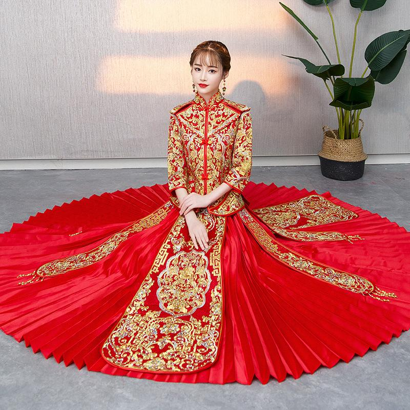 2019 High Quality Traditional Chinese Wedding Dress Long Cheongsam Handmade Embroidery Qipao Dresses Retro Dressing Gown Size S Xxl From Yoursuger
