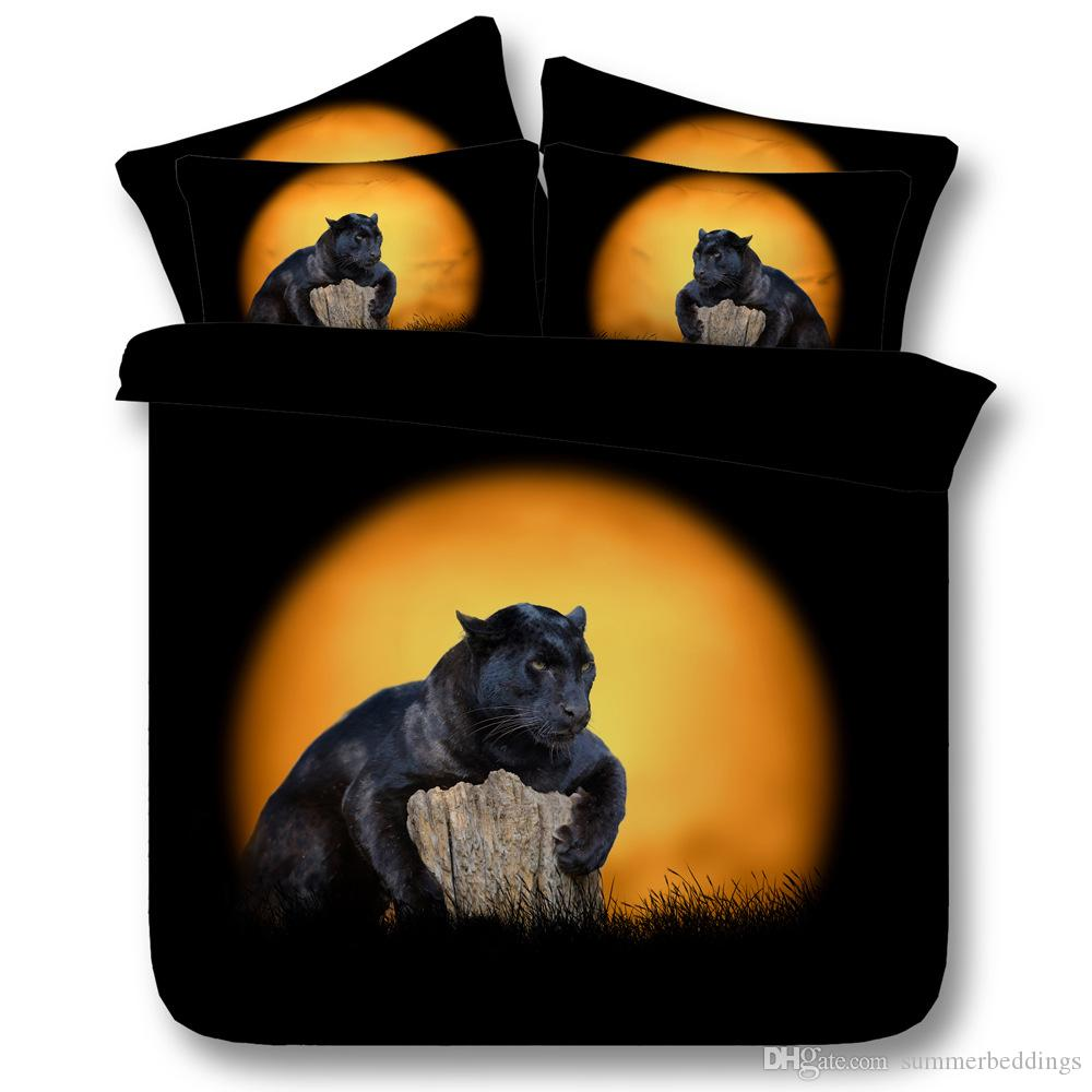 3D black leopard bedding sets animal duvet cover sunset bedspreads comforter cover Bed Linen Quilt Covers bed cover for adults boys men