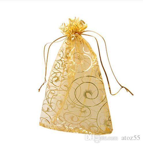 400 PCS9 * 12 cm Star Moon Branco Organza Bolsas Sacos de Jóias E Sacos de Embalagem Moda Presente Sacos de Festa de Casamento Saco Para O Presente
