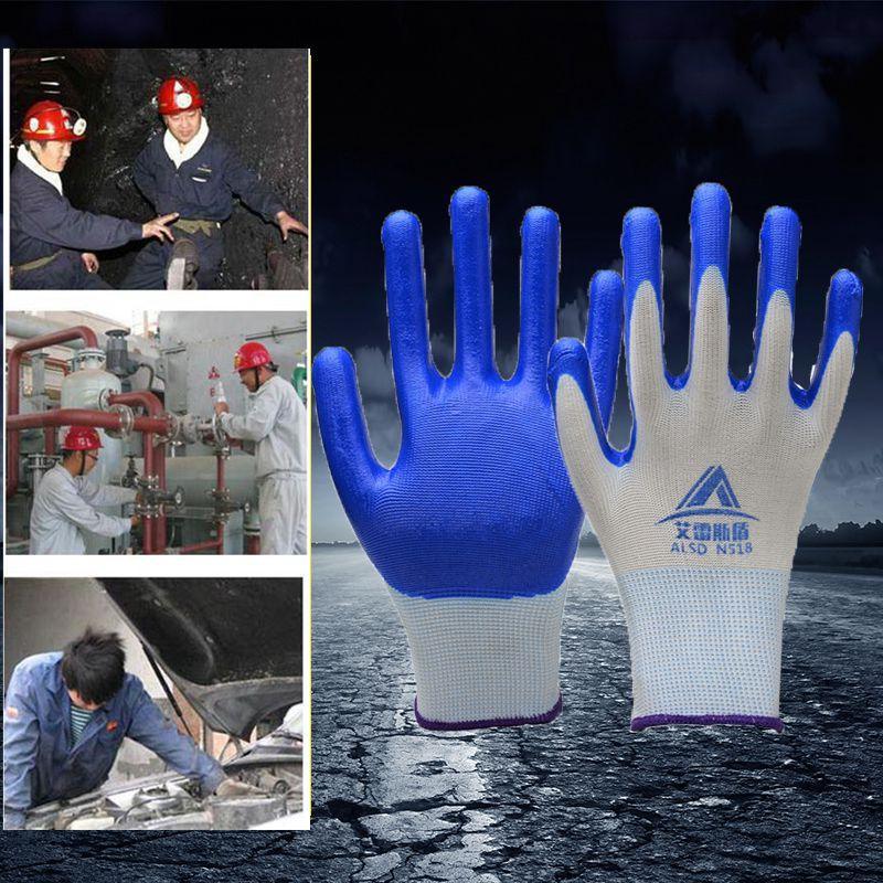 ALK 12pairs=24pcs садовые перчатки водонепроницаемый дом рабочие перчатки двойной прочный Нитриловый Каучук анти резки анти занос покрытием перчатки безопасности