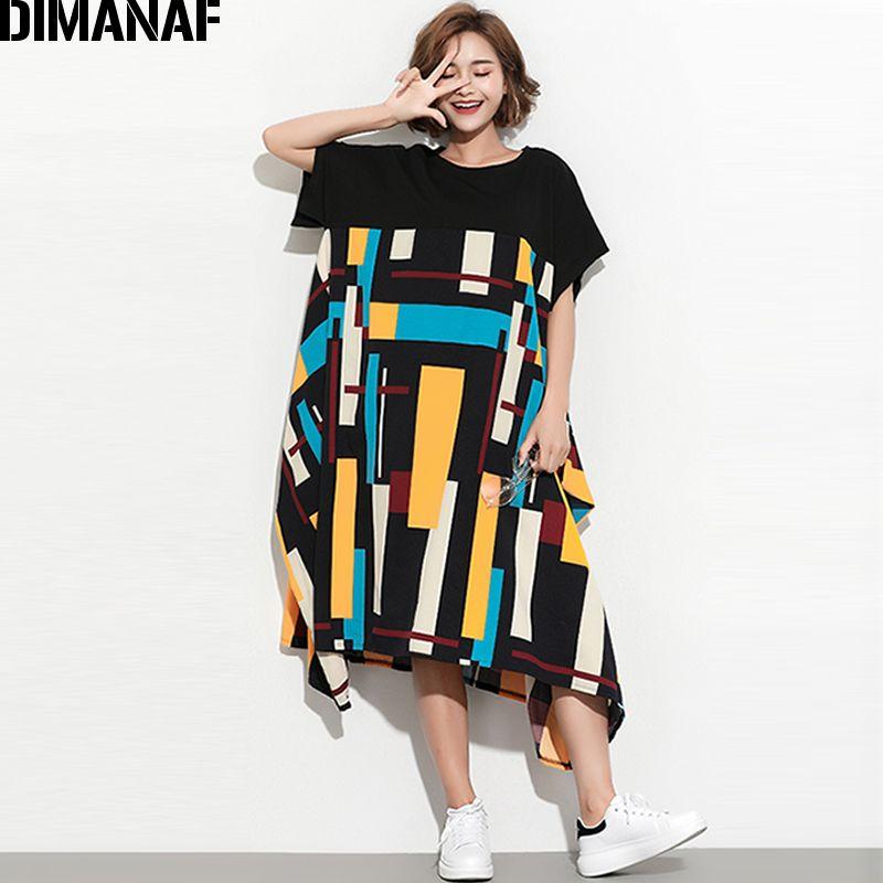 DIMANAF Women Summer Dress Plus Size Sundress Clothing Female Lady Large  Big Vestidos Print Spliced Casual Oversized Loose Black Pink Dress Sundress  ...