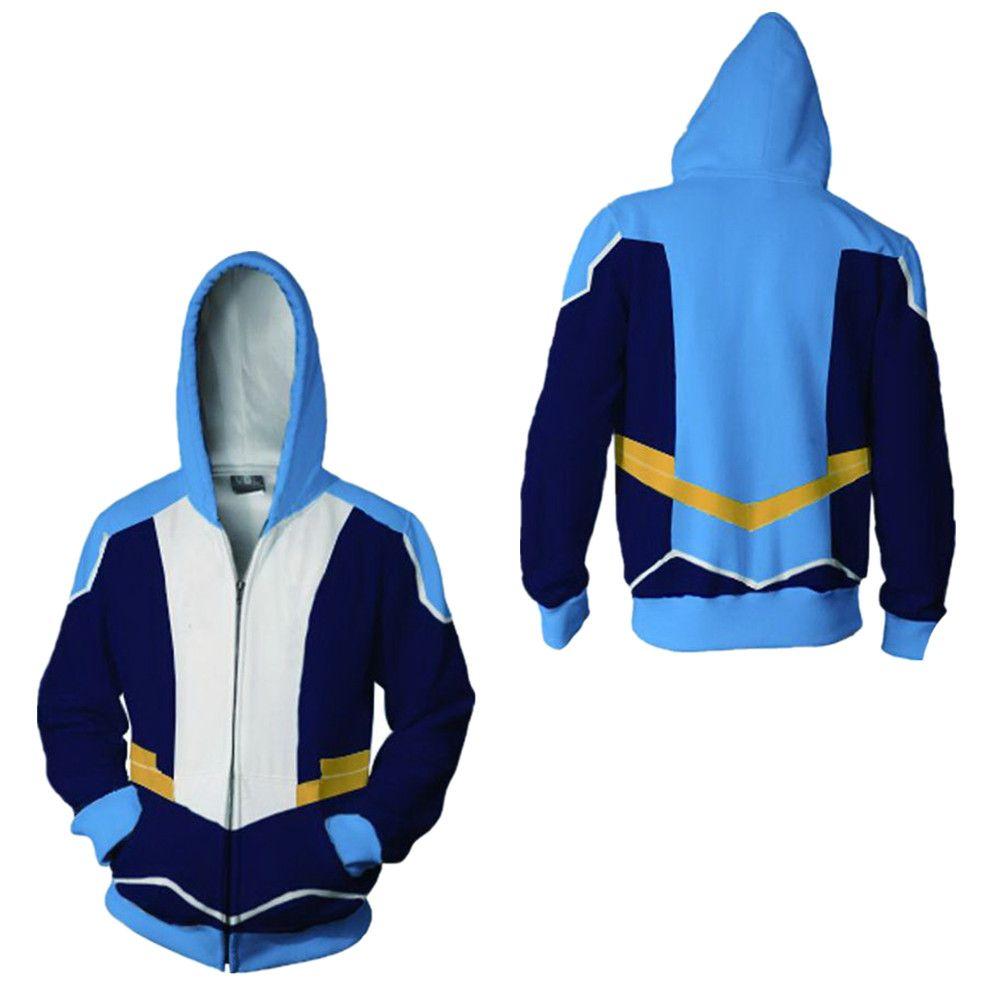 El tamaño asiático Escudo Japón Béisbol animado azul unisex de Halloween cosplay traje 3D chaqueta deportiva de manga larga con capucha