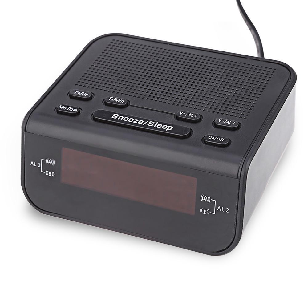 2017 Modern Design Alarm Clock FM Radio with Dual Alarm Buzzer Snooze Sleep Function Compact Digital Red LED Time Display Clocks04