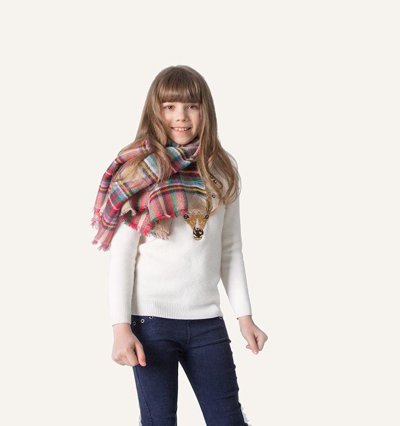 Baby Plaid Scarves Cashmere Winter Warm Soft Scarves Kids Girls Tartan Scarf Wraps Winter Shawl Ring 100*100CM 12pcs CNY350