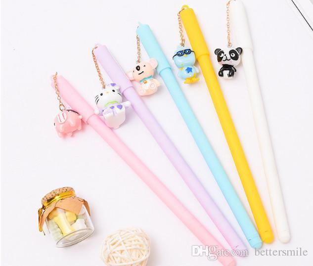 Wholesale gel pen free shipping 120 pcs\lot cartoon neutral writing pen Cartoon cutie animal pendant pen339