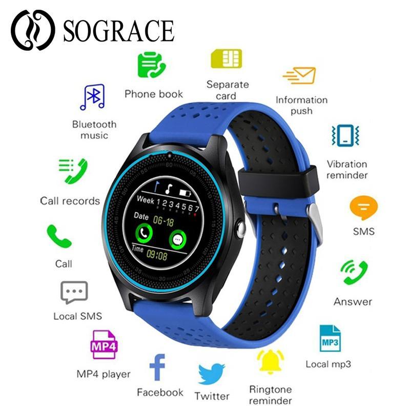Smart watch android com câmera bluetooth smartwatch sim tf cartão relógio de pulso rastreador de fitness assista à prova d 'água eletrônica inteligente