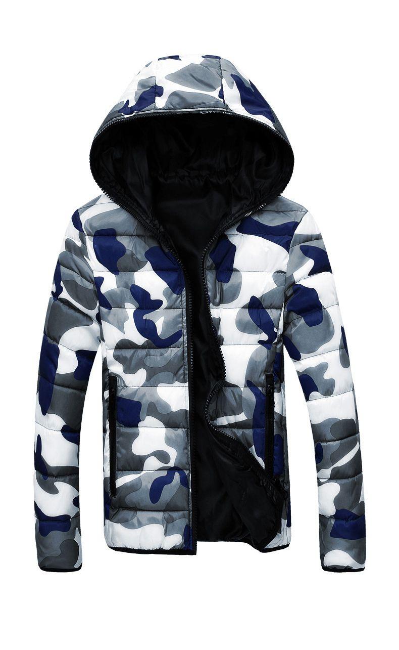 Hombres con capucha cuello abajo chaquetas de camuflaje abrigo reversible en línea barato chaqueta caliente con cremallera sudaderas con capucha envío gratis
