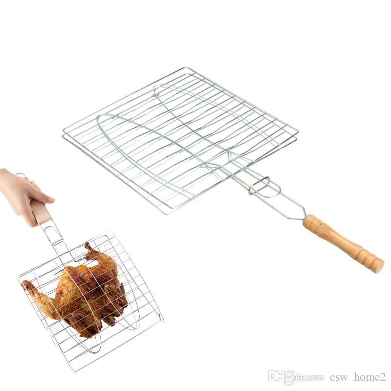 شواء كليب مجلد شواء واحدة الأسماك اللحوم سلة الشواء 2 الأسماك أداة الشواء الشواء مجلد مع مقبض خشبي اكسسوارات المطبخ