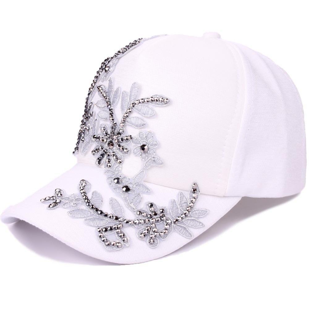 Moda blanco gorra de béisbol mujeres forma floral juventud niñas sombreros Casquette Homme mujeres gris bordado Rivet Snapback Cap