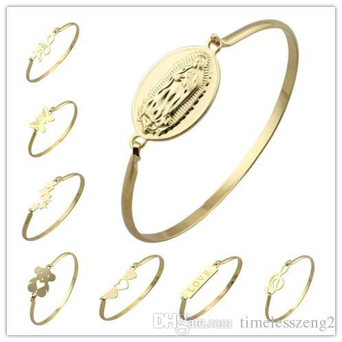 Euramerican creative love heart bracelet 19 design strainless steel gold plating bracelet open bracelet bangle for women man jewelry