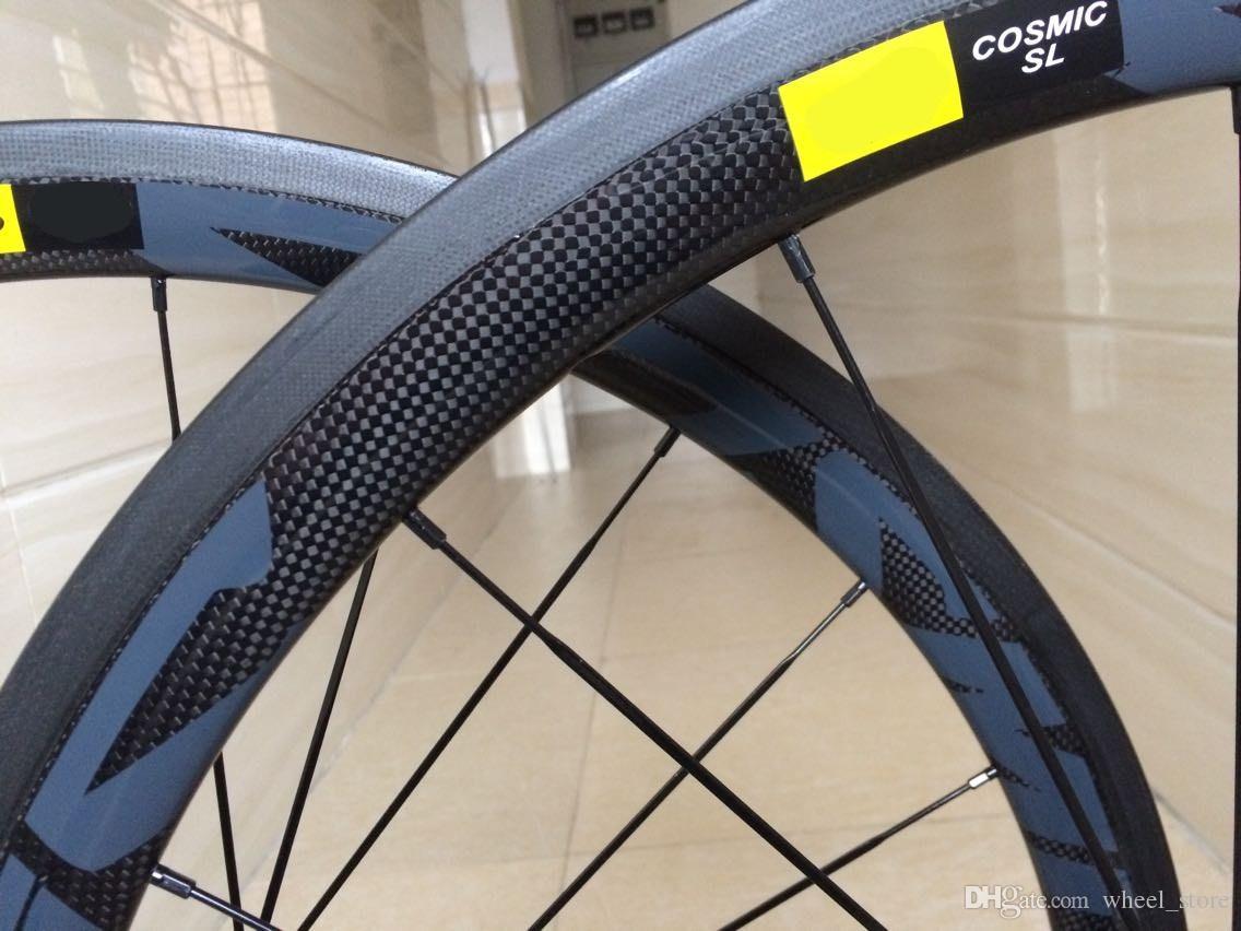 2018 Top Sales COSMIC 700C 3k matte full Carbon Wheelset clincher with shimono 11s powerway hubs super light racing carbon bike wheelset