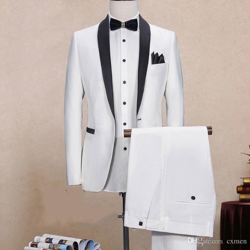 Custom Made White Men Suit For Wedding 2018 Slim Fit Men Blazer Handsome Groom Tuxedos Black Shawl Lapel 2 Pieces (Jacket+Pants) Prom Wear
