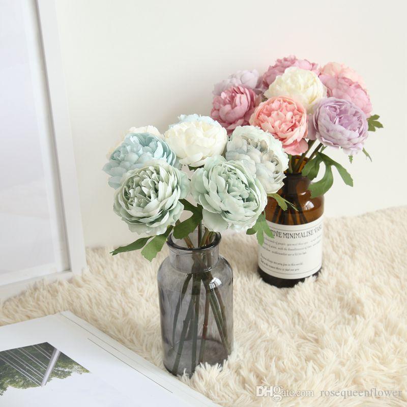 Sztuczna herbata róża bukiet rośliny florystyka jedwabiu kwiat aranżacji domowej dekoracji 9 kolorów biuro dekoracji kwiaty
