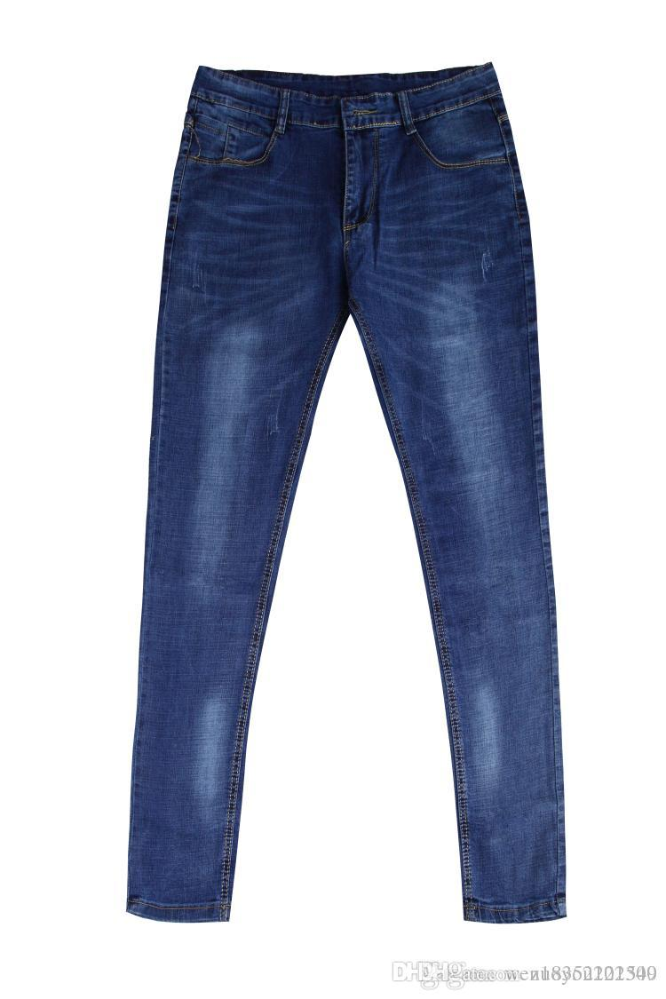 Luz azul 2018 versão coreana jeans de lazer com tecido retrátil elástico casa de moda em linha reta-tubo jeans fabricantes atacado