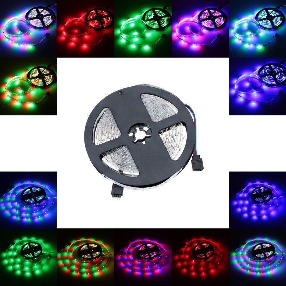 Alto Birght 5 M Rolo 3528 Tiras de Led Luz RGB Flexível LED faixa de corda 300 LEDs 12 V Fita ao ar livre para o Dia Das Bruxas luzes de Natal