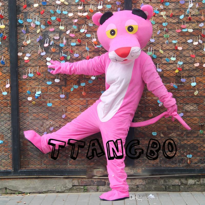 New Pink Panther mascotte Costume Leopard Fantaisie Carnaval pour l'école Anime Halloween Noël fête d'anniversaire