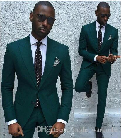 Gut aussehend Hunter Green Men Anzug Smoking für Hochzeit Zwei Stücke Bräutigam Braut Anzüge nach Maß Groomsmen Suits Jacket + Pants