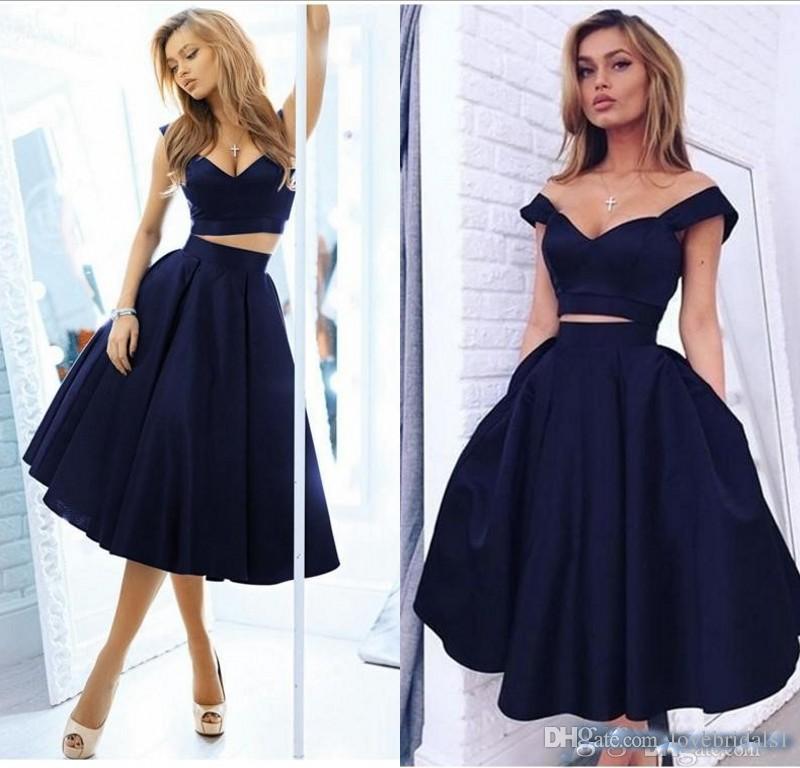 2018 deux pieces bleu marine robes de bal courtes avec une poche une ligne longueur au genou mini robe de soirée satin
