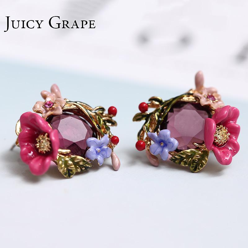 Winter Garden Series Smalto Smalto Rosa cinese Peonia Cristallo Orecchini in oro Donna gioielli in argento con ago