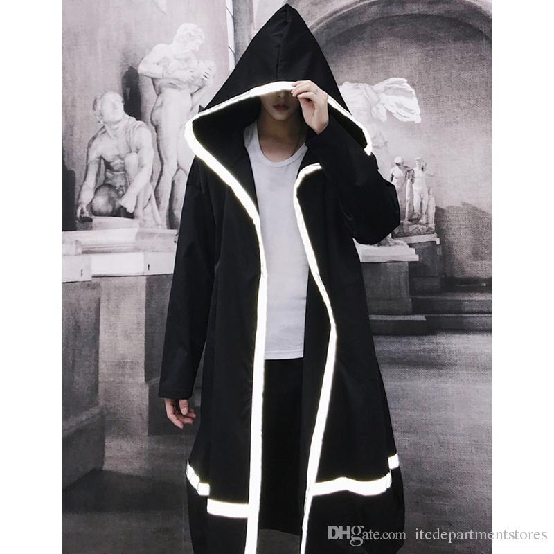 남성 반사 스트립 트렌치 코트 망 Streetwear Black Jacket Coats 남성 루스 롱 코트 기모노 가디건
