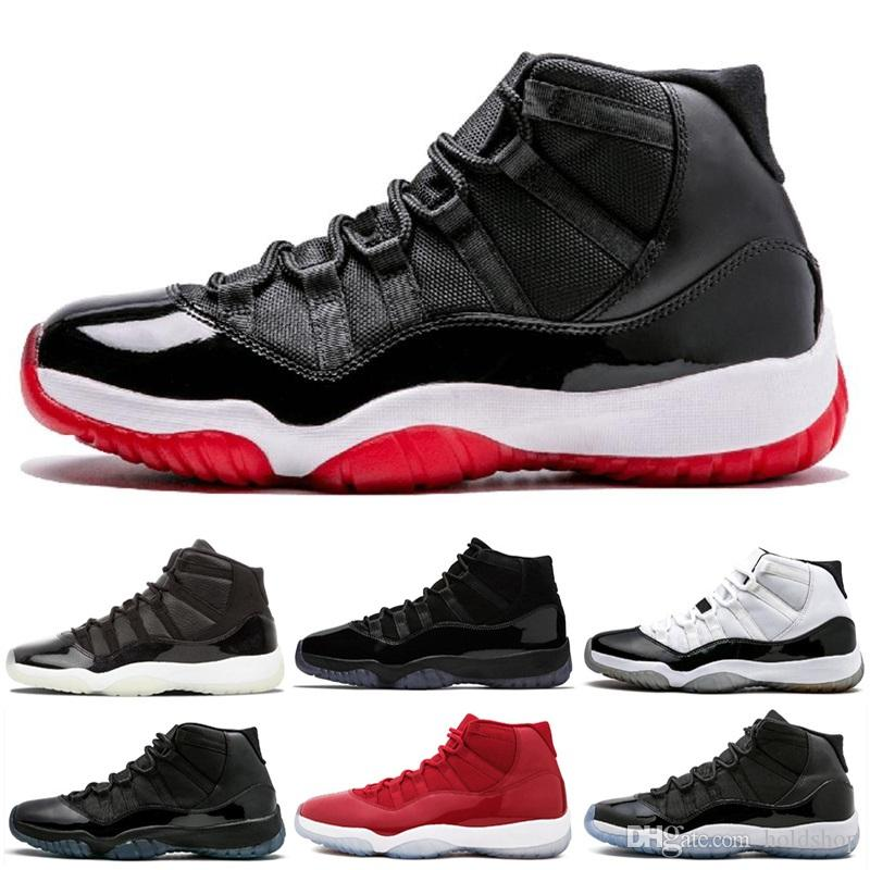 11S Men Prom Night 11 Basketball Shoes 72-10 Cap And Gown Space Jam 45 Gym Red Midnight Navy PRM Heiress Barons Concord Bred Sport Sneakers