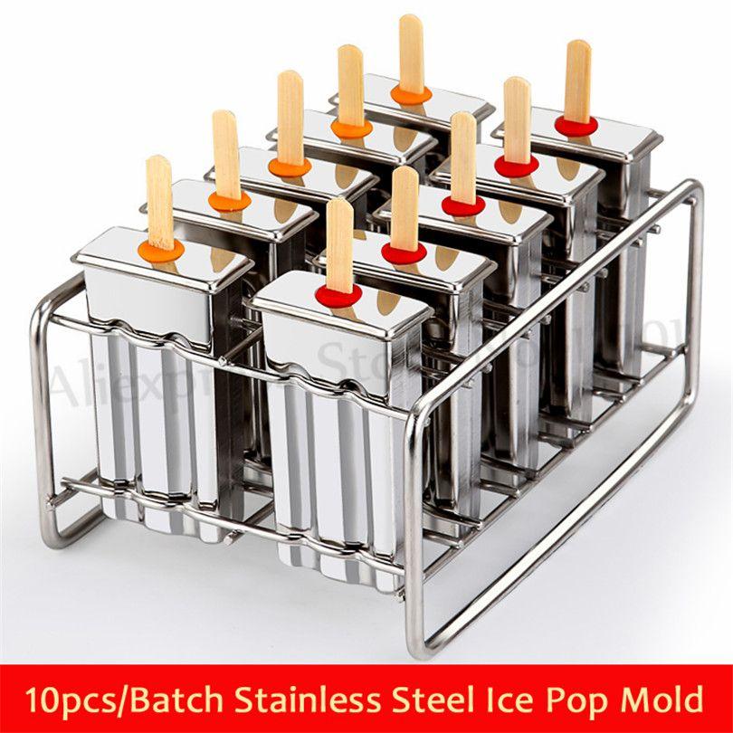 Level BYARSS 10 stampi per Gelato in Acciaio Inossidabile Popolare Stampo ghiacciolo ghiacciolo Classico Riutilizzabile Jumbo Set di stampi per Ghiaccio portastick