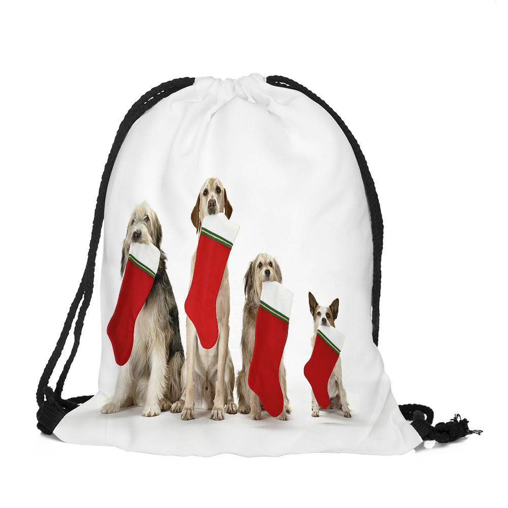 Buon Natale Candy Bag Satchel Zaino Bundle Pocket Drawstring Storage Bag Zaini ragazze scuola Sac A Dos