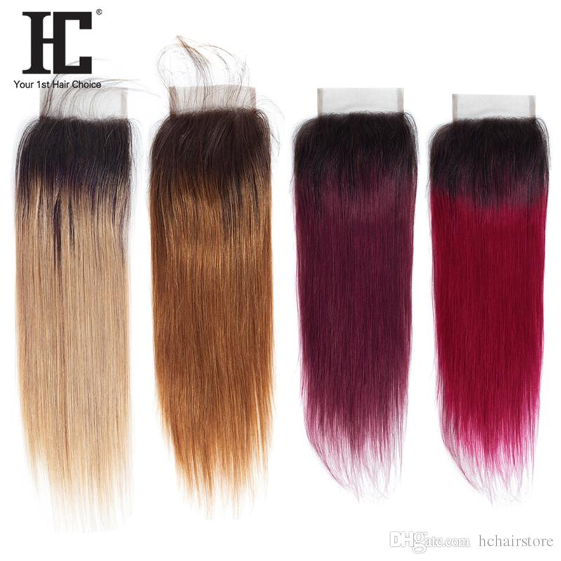 HC Ombre Closure 1B/27 30 99j burgundy Two Tone Grade Brazilian Straight Hair Weave 4x4 Lace Free/Middle/Three Part 10-20 Inch