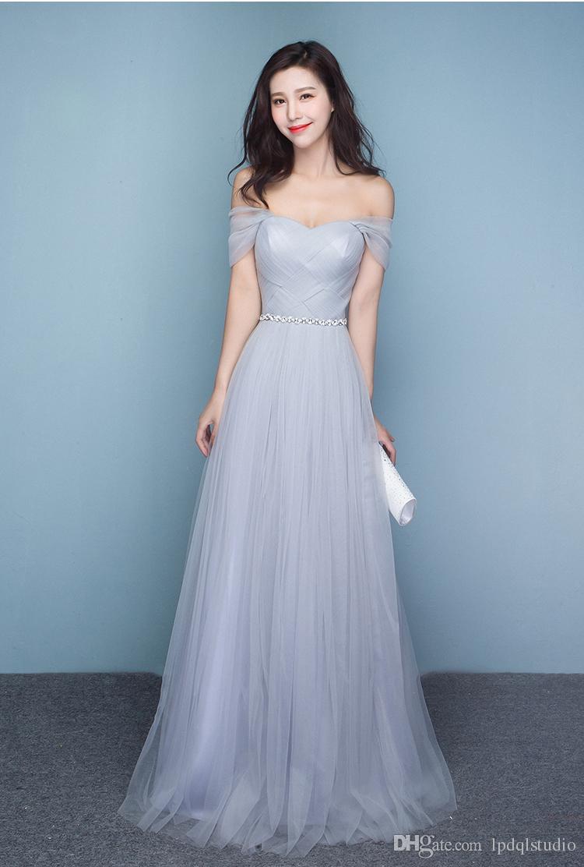 Silver Grey Bridesmaid Dresses Off Shoulder