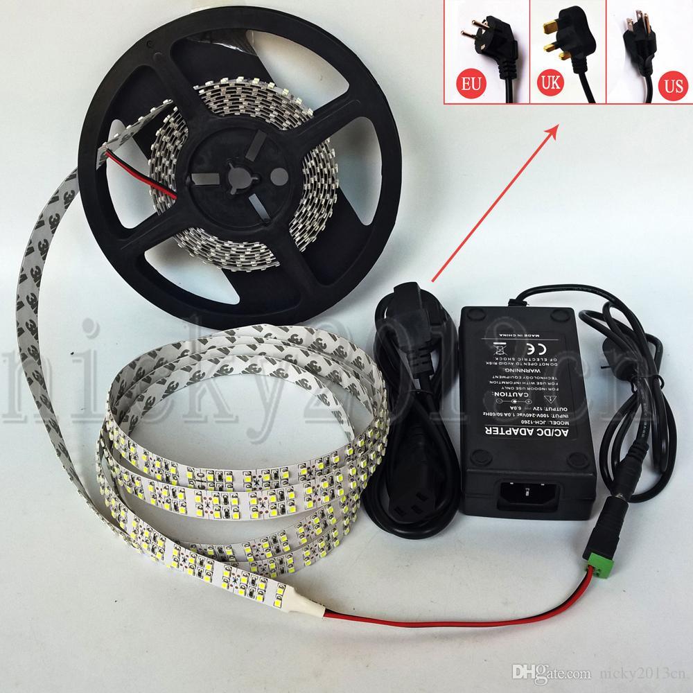 Tam Kiti 5 M 3528 LED Esnek Şerit Işık Bant 1200 LEDS Süper Parlak Çift Sıra Su Geçirmez + 12 V 6A Güç Kaynağı + DC Bağlayıcı