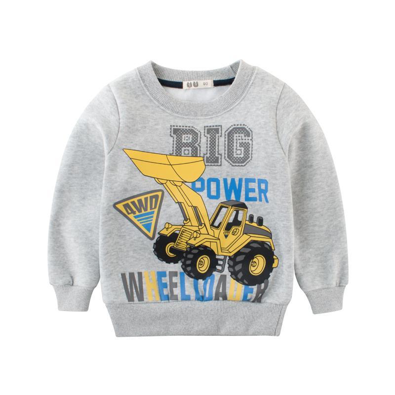 1-8 Yıl Sonbahar Çocuk Giysileri Kış Bebek Boys Uzun Kollu Hoodies Ekskavatör 2018 Çocuk Boy Tişörtü Toddler Giyim Tops