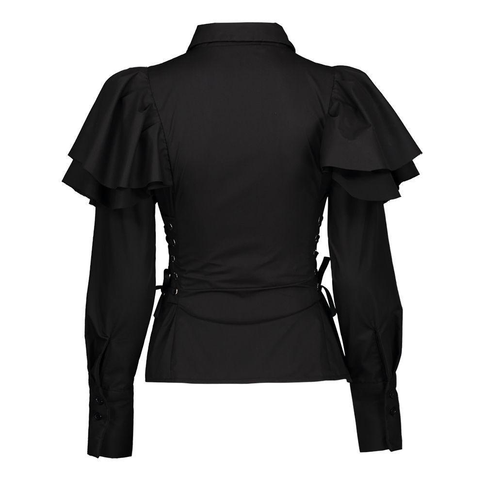 auténtico mejor 100% originales Compre Clocolor Mujer Blusa Gótica Negra Camisas De Manga Larga Con  Cordones Delgados Con Volantes Tops Fashion Lady Elegante Camisas De Cuello  ...