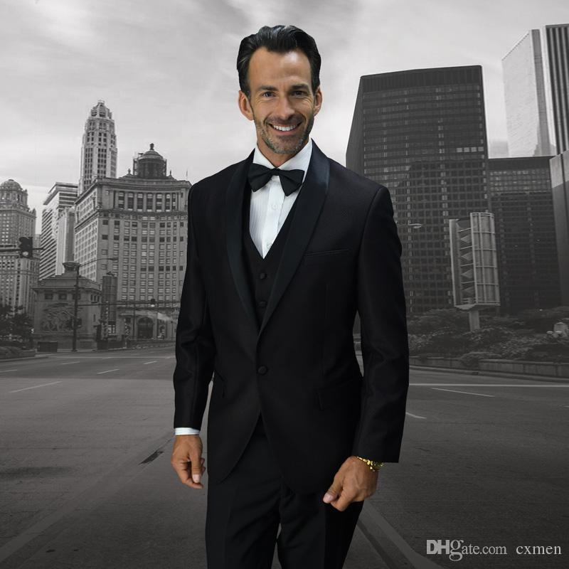 Black Men Suits for Wedding 2018 Satin Shawl Lapel Slim Fit Groom Tuxedos Vintage Men Blazers 3 Pieces (Jacket+Pants+Vest) Groomsmen Suit