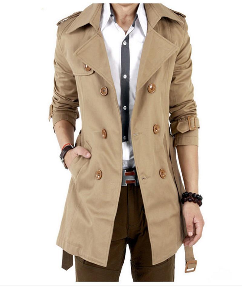 2016 Trench Coat Hombres Clásico Doble Pecho Mens Abrigo Largo Masculino Mens Ropa Chaquetas Largas Abrigos Abrigo Estilo Británico