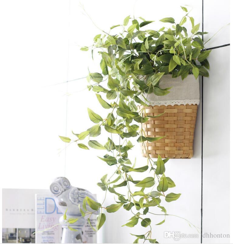 Yapay asma yaprak BP055 5 dalları ile sevgililer günü ev bahçe süslemeleri için yeşil rattan simüle