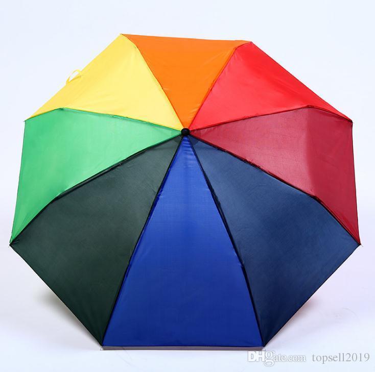 Creative Rainbow Umbrella Outdoor Couple Gift Umbrella Sun Protection Advertising Umbrella Custom Logol and Colors SN1553