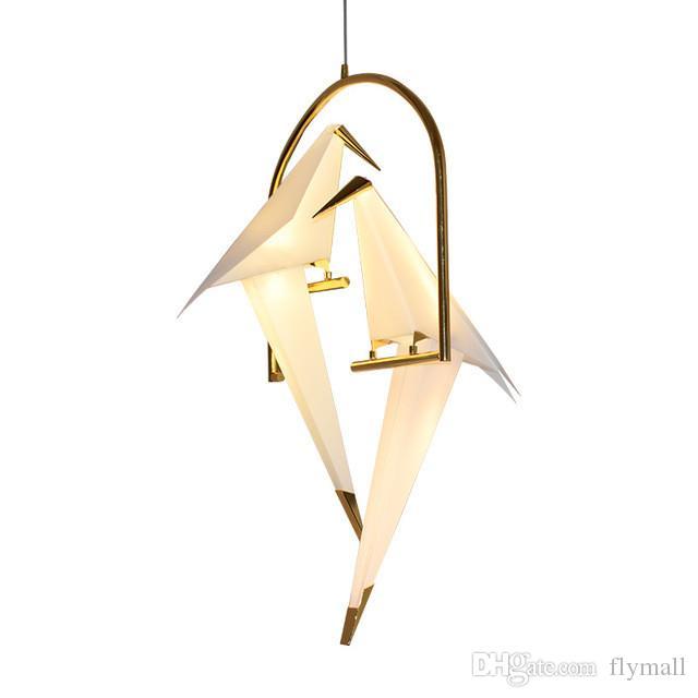 Lampadario a lampadario in metallo della gru moderna della gru della gru per il ristorante Soggiorno Sala da pranzo Camera per bambini Led Bird Design Pendant Lamp