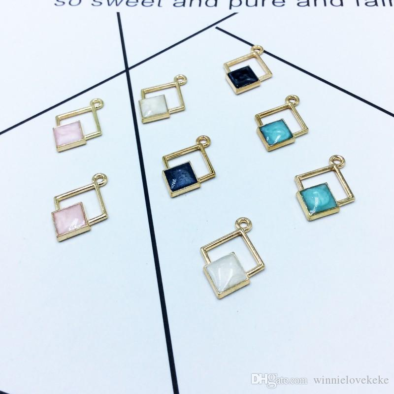200 pcs Gold plated double rhombus charms pendant good for DIY craft, necklace pendant, jewelry making