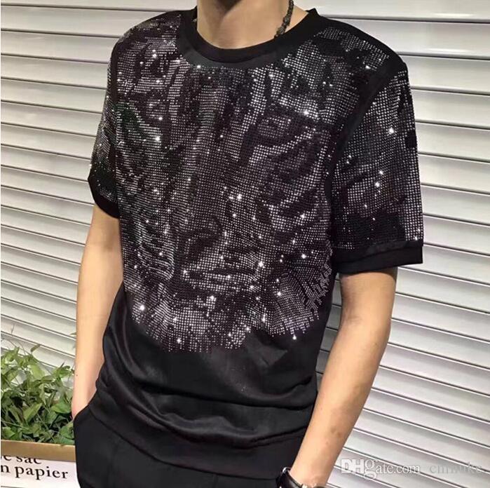 Homens de luxo por atacado design de diamante Tshirt moda t-shirt dos homens camisas engraçadas de t marca tops e tees modi01