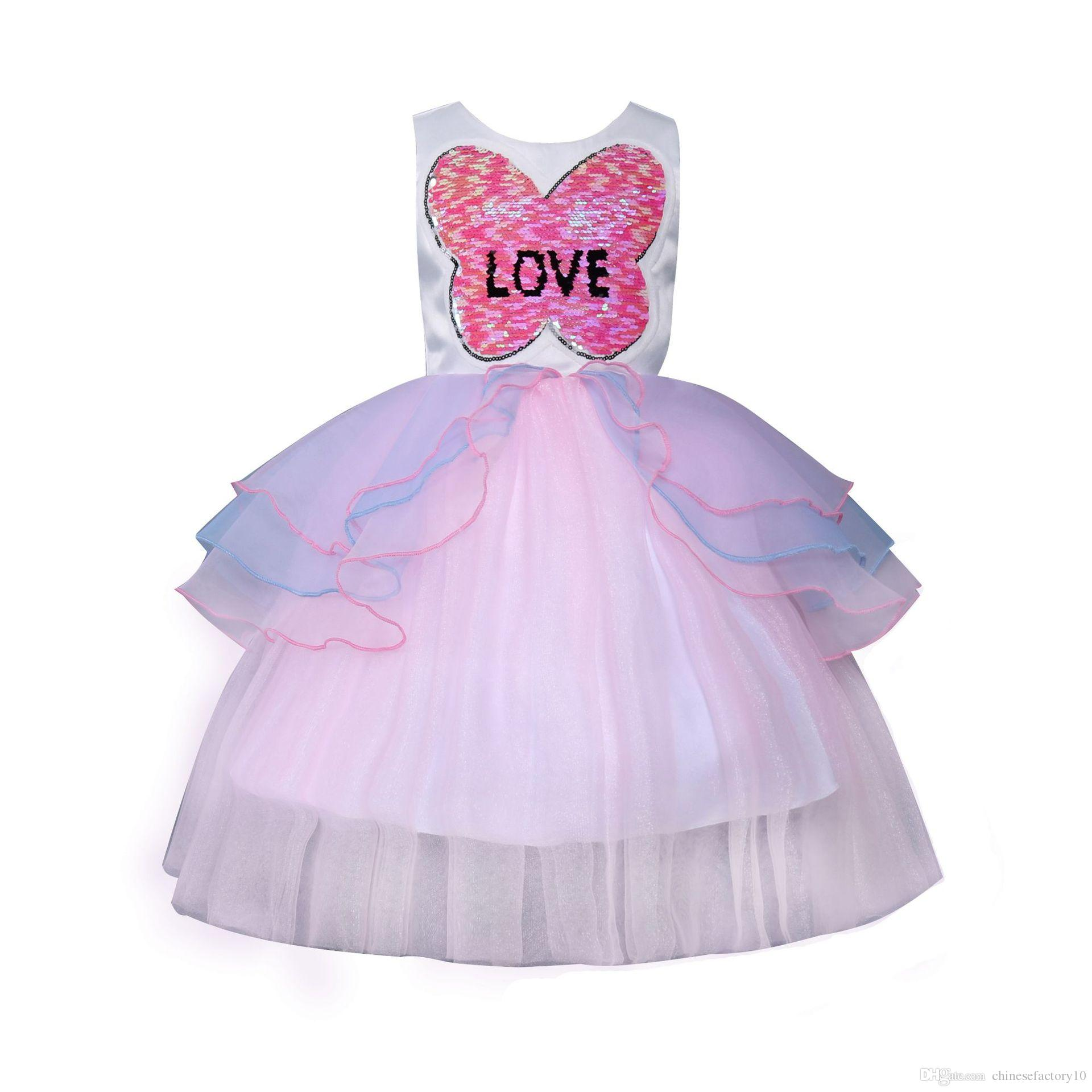 Baby Girl Love Dress Summer Sequins Party Wedding Dresses Prom Little Girls Patchwork Princess Dress Sleeveless New 2018
