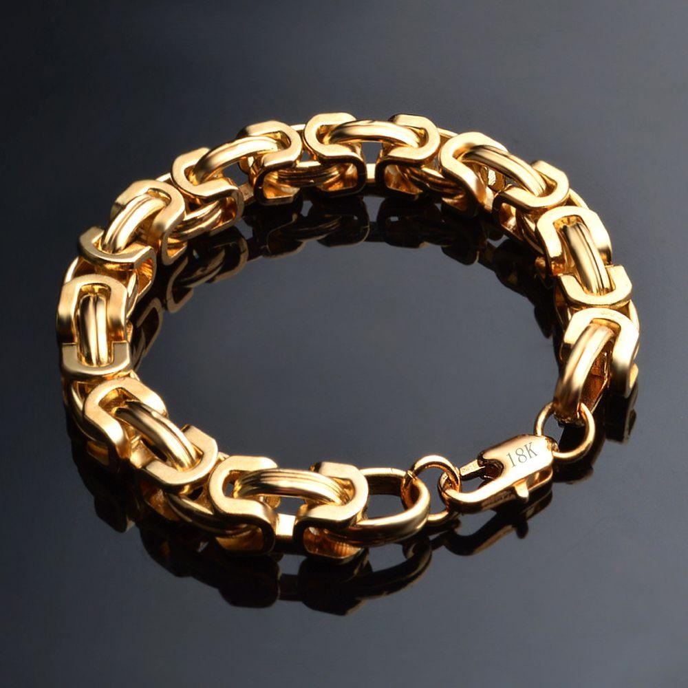 Kasanier rock und hip hop gold armband 9mm gold farbe mann modeschmuck mann boss panzer armband neue anhänger schmuck