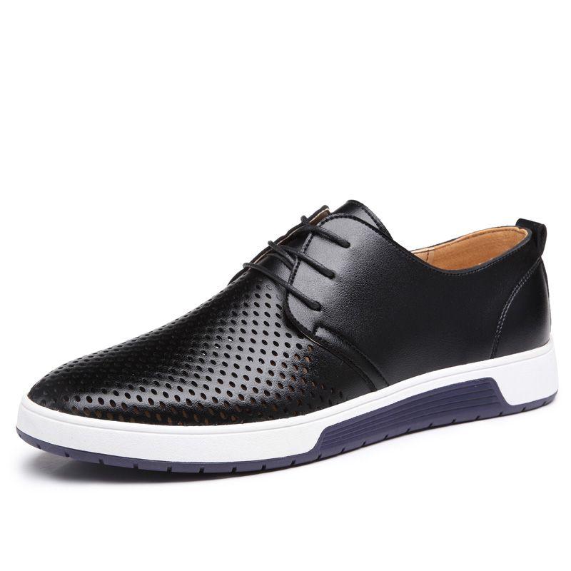 Nouveau 2018 Hommes Casual Chaussures En Cuir D'été Respirant Trous De Luxe Chaussures Plates Marque Pour Hommes Version Coréenne De La Taille Creuse 38-47