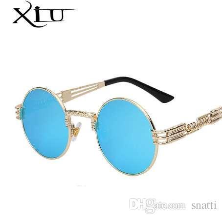 Gótico Steampunk Gafas de sol Hombres Mujeres Metal WrapEyeglasses Redondo Tonos Diseñador de la marca Gafas de sol Espejo de Alta Calidad UV400