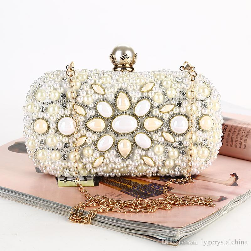 Pearl dinner bag Set with diamond fashionable person new evening outfit bag The dress hand - made beaded embroidery handbags
