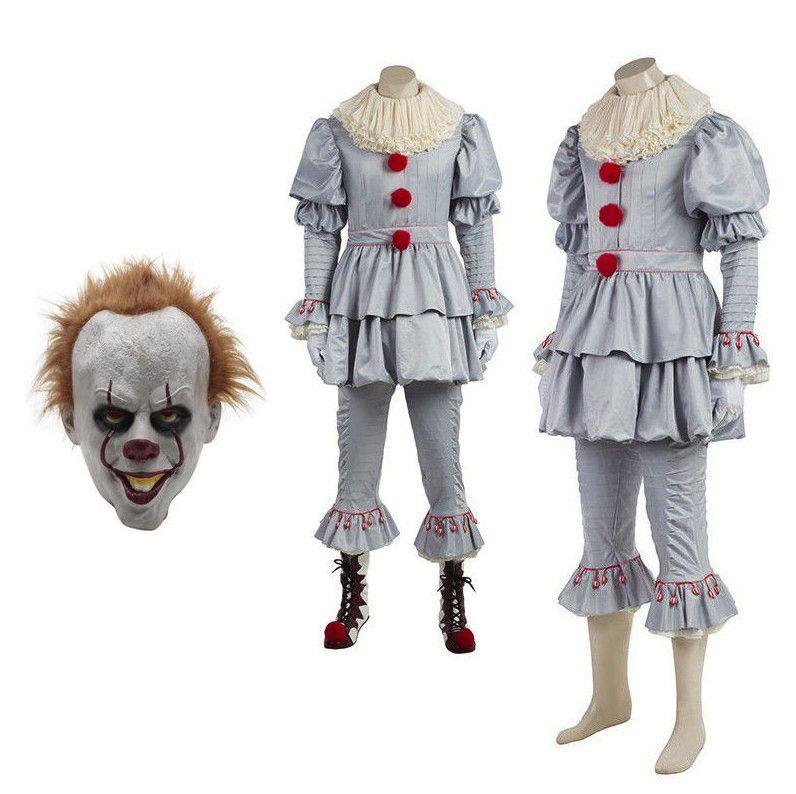 Новый Pennywise Косплей Костюм клоуна Косплей Костюм с маской