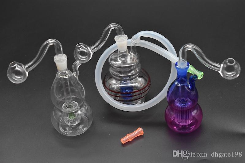 bunte Mini Ölplattform Bong starke berauschende Glasölbrennerpfeife 10mm weibliche kleine Wasserpfeife mit Silikonschlauchmundtropfenspitze