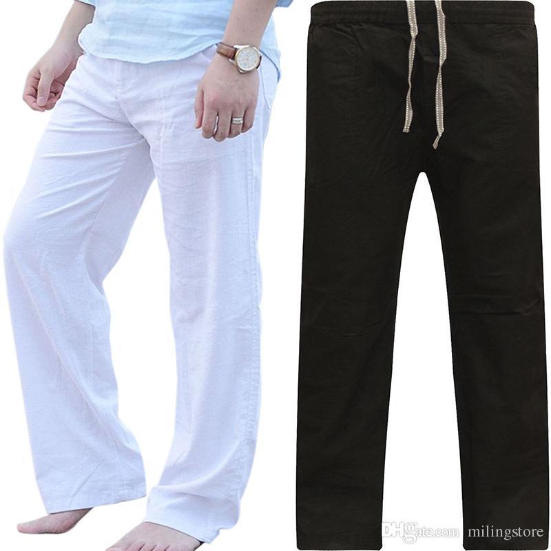 Hombres pantalones casuales con cordones sueltos pantalones de chándal más el tamaño recto completo de longitud Joggers Mens Track Pant pantalon hombre