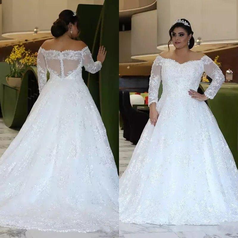 Najwyższej jakości Suknie ślubne 2019 Plus Size z długim rękawem Off Ramię Big A Line Błyszczące Kryształowe Koraliki Koronki Duży Rozmiar Suknie Ślubne