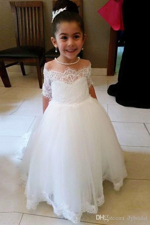 First Communion Dresses 2018 Cheap Plus Size Flower Girl Dresses For  Wedding Flower Girl Ivory Chiffon Flower Girl Dresses Ivory Girl Dresses  From ...
